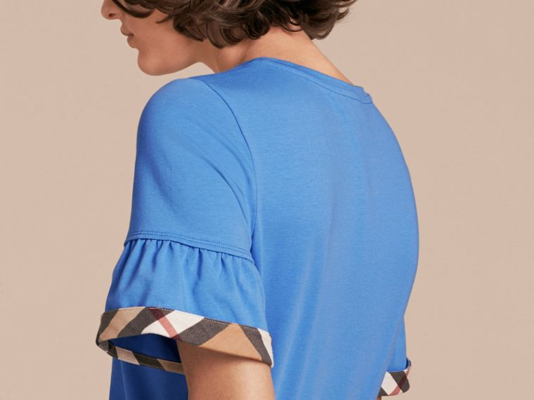 Stretch Cotton T-shirt with Check Trim Ruffles Bright Hydrangea Blue - cell image 4