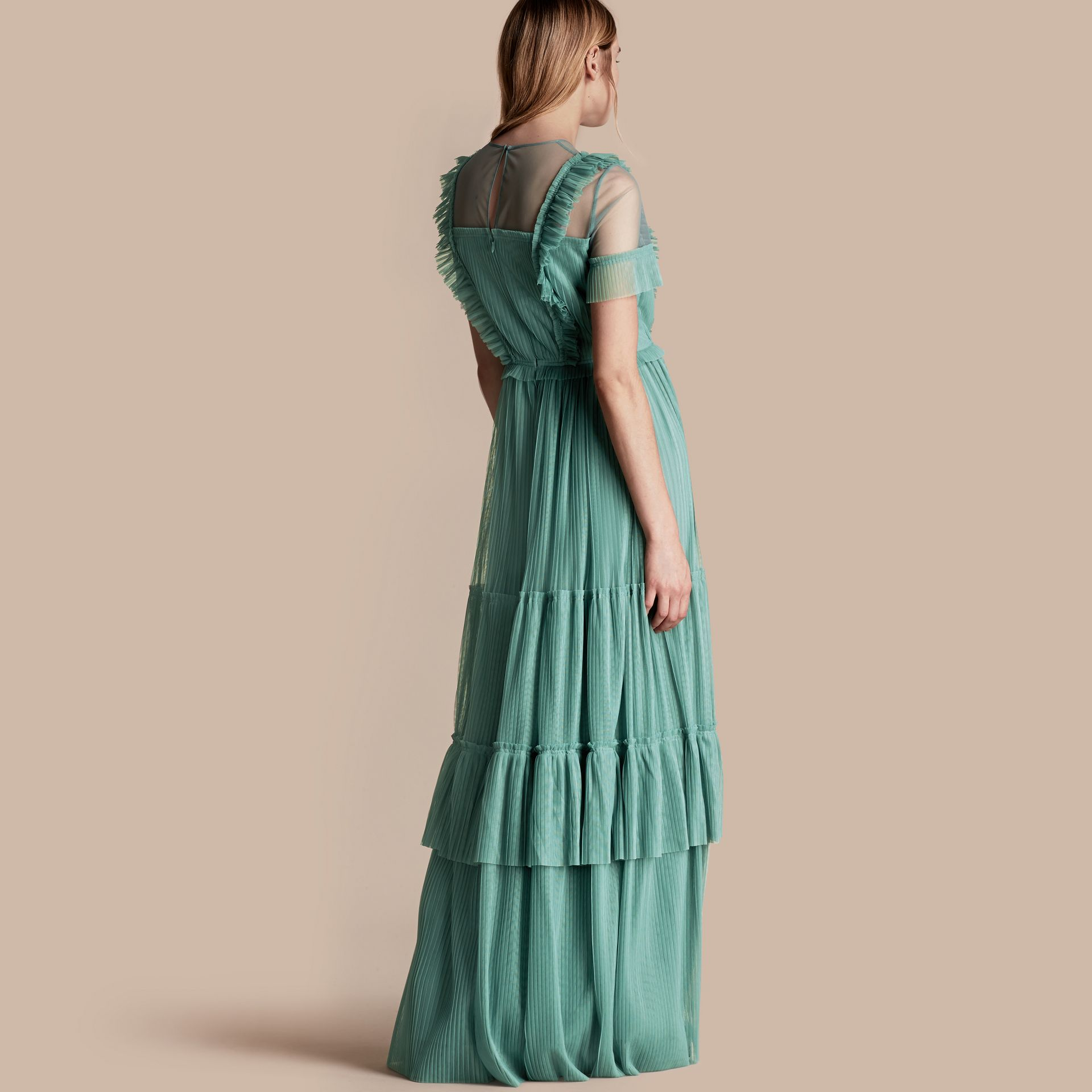 Aqua green Ruffle Detail Floor-length Dress - gallery image 3