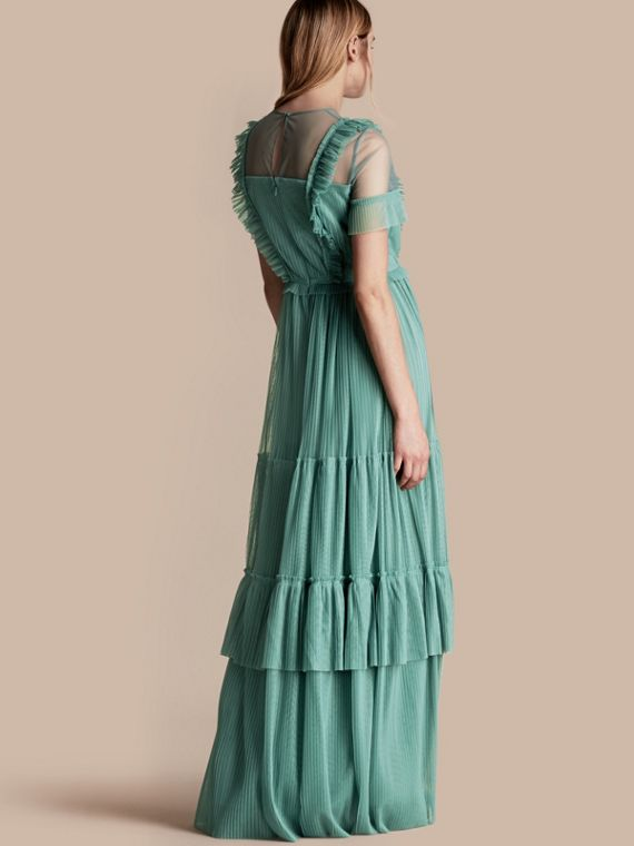 Aqua green Ruffle Detail Floor-length Dress - cell image 2
