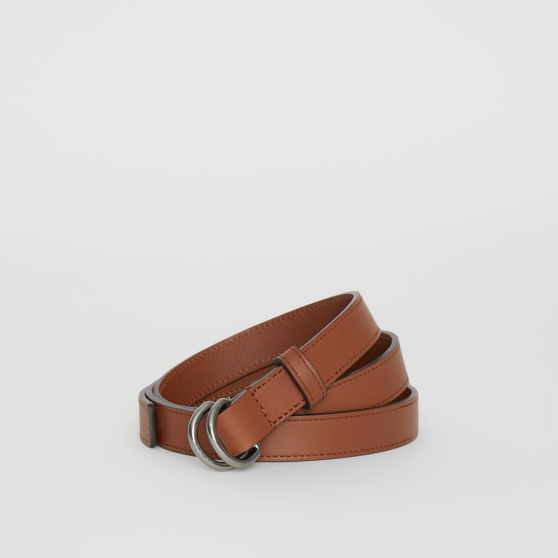 Slim Leather Double D-ring Belt in Tan/natural Silver - Women | Burberry Singapore - gallery image 0