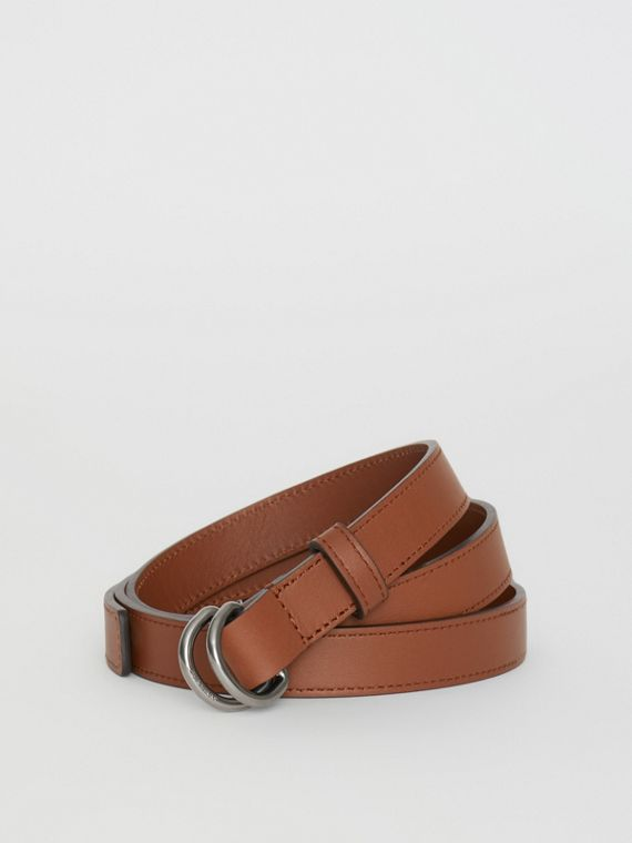 Slim Leather Double D-ring Belt in Tan/natural Silver