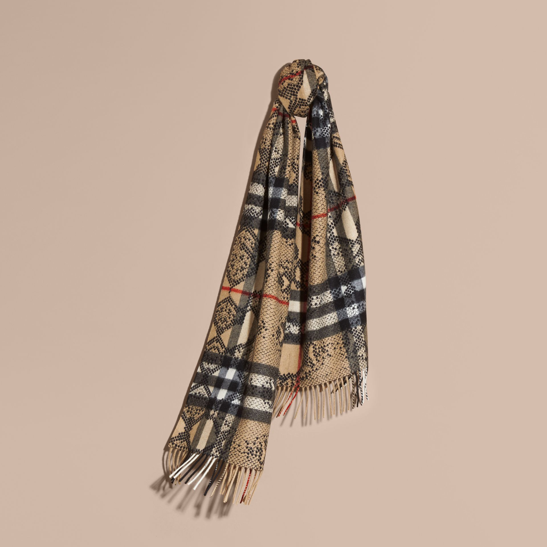 Camel/black The Classic Cashmere Scarf in Check and Python Print - gallery image 6