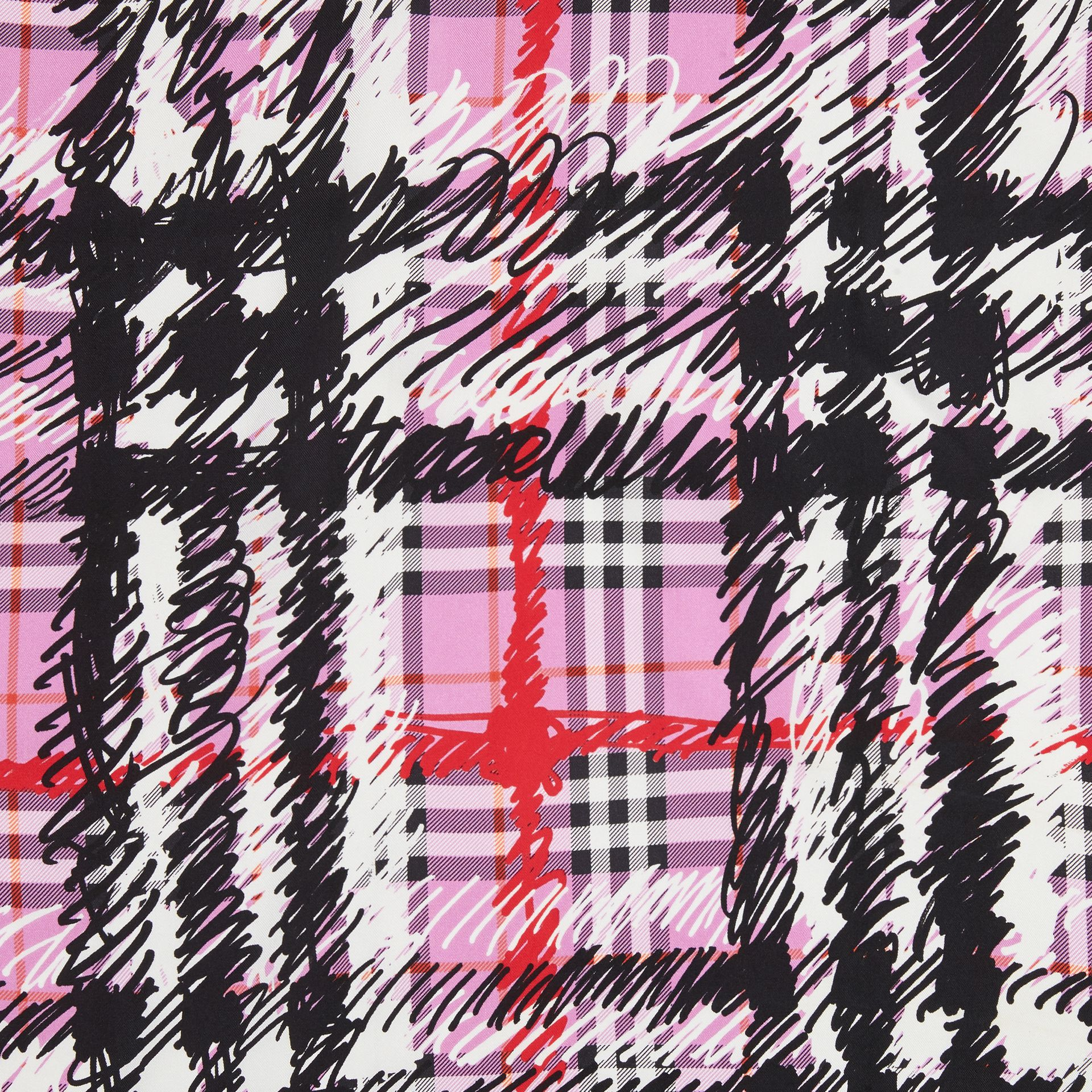 Scribble Check Silk Square Scarf in Fuchsia Pink | Burberry United Kingdom - gallery image 1