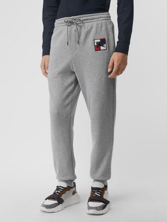 Chequer EKD Cotton Trackpants in Pale Grey Melange