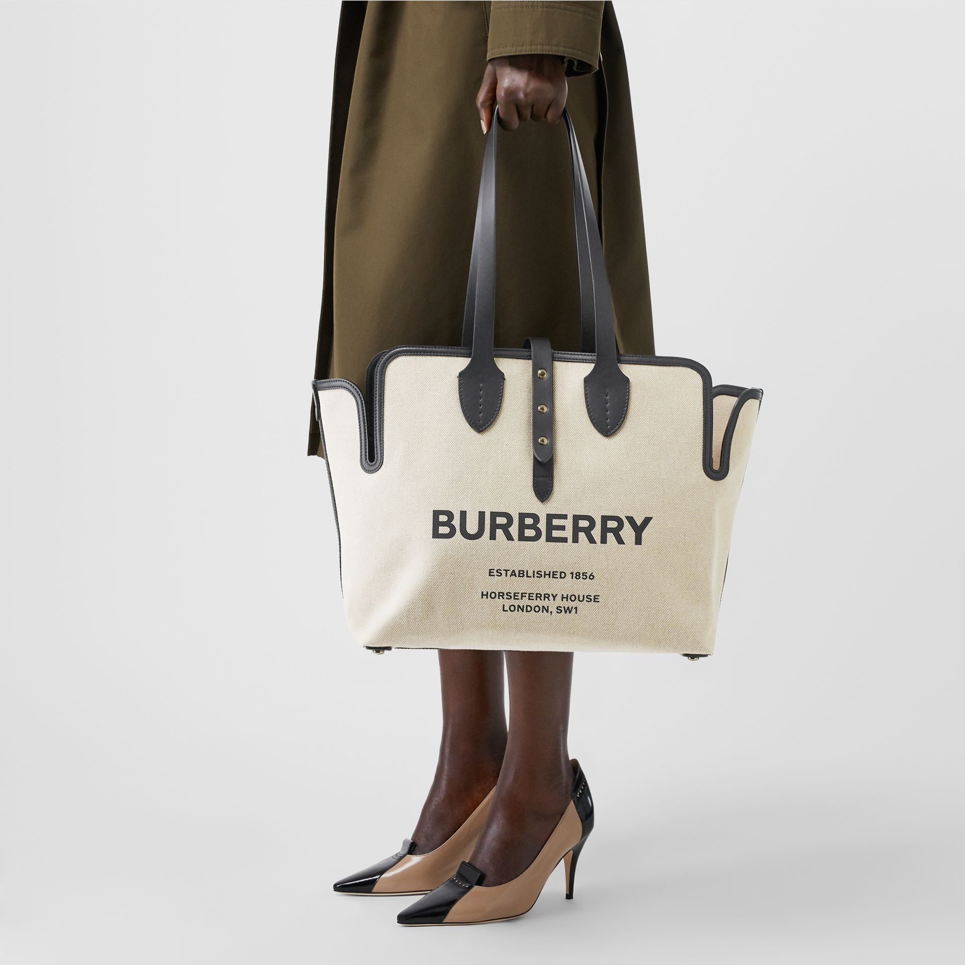 The Medium Soft Cotton Canvas Belt Bag in Black - Women | Burberry United Kingdom - gallery image 2