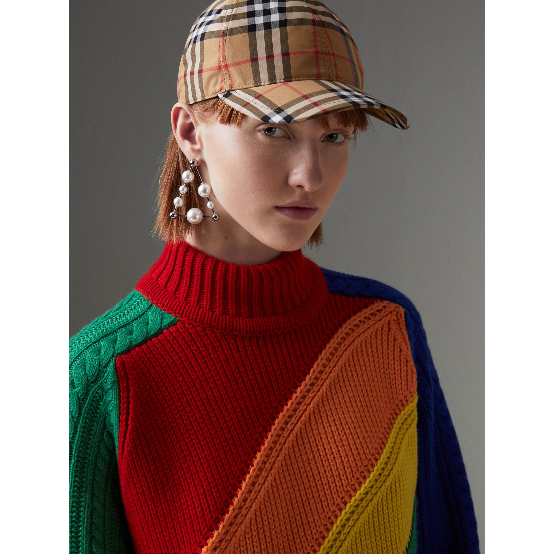 Rainbow Wool-cashmere Turtleneck Sweater in Multicolour - Women | Burberry Australia - gallery image 1