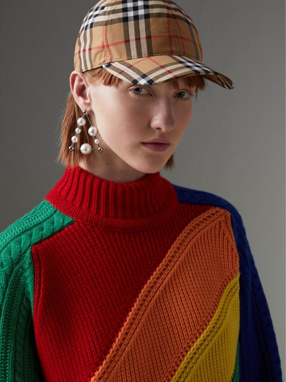 Rainbow Wool-cashmere Turtleneck Sweater in Multicolour - Women | Burberry Australia - cell image 1