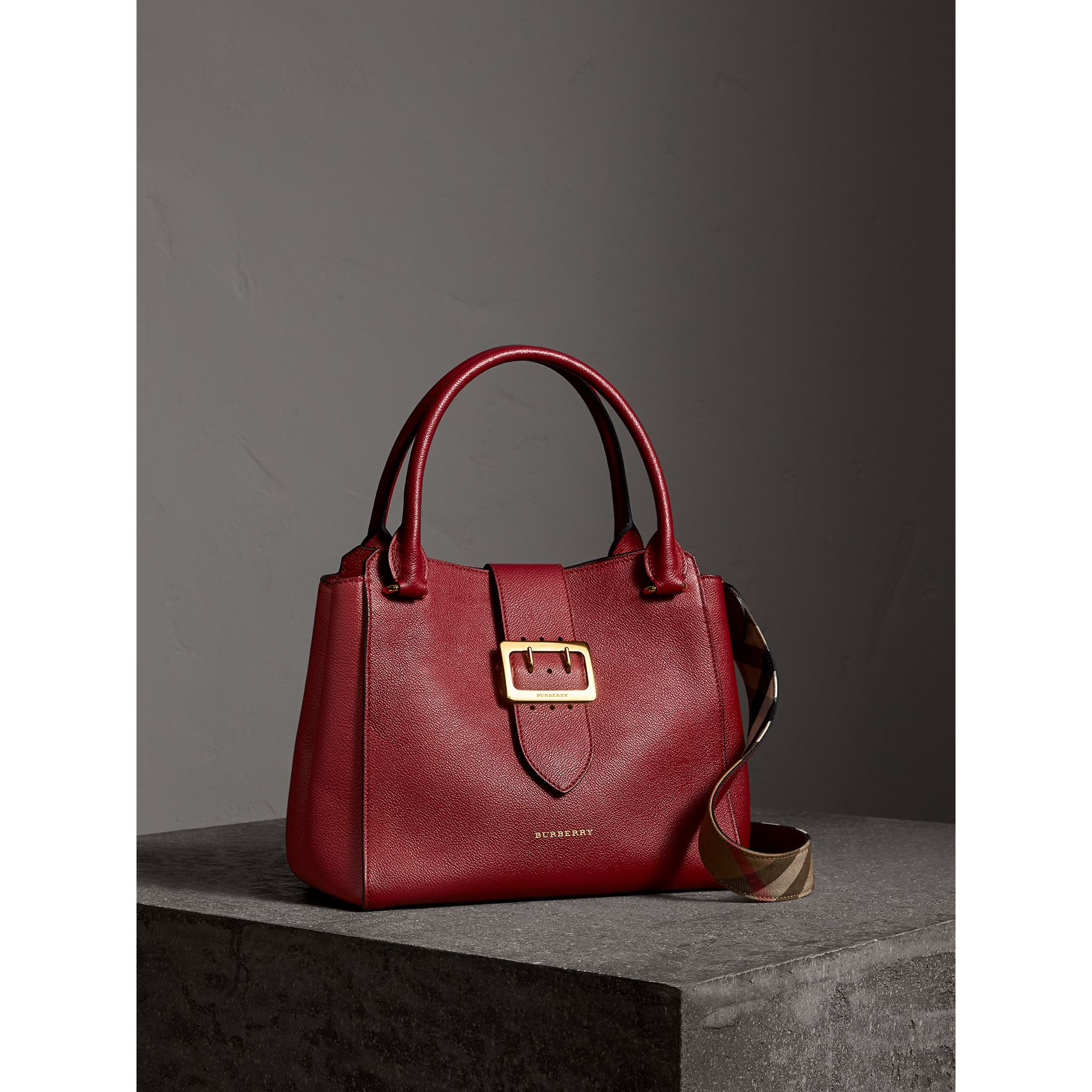 The Medium Buckle Tote in Grainy Leather in Parade Red - Women | Burberry - gallery image 8