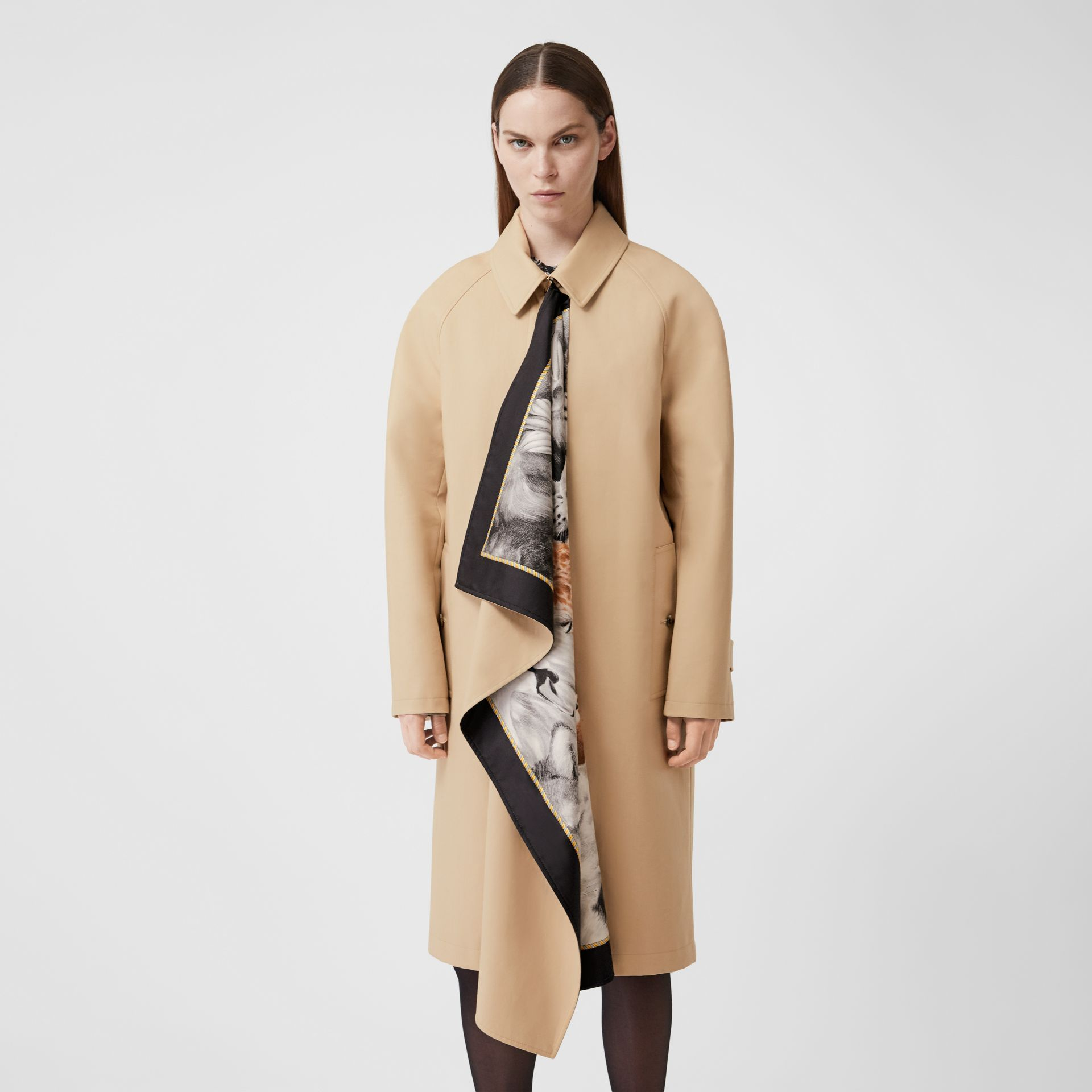 Animalia Print Silk Scarf Detail Cotton Car Coat in Soft Fawn - Women | Burberry - gallery image 0