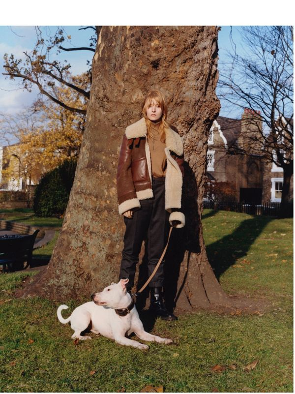 Billie Turnbull with Boysey<br>Billie wears a lambskin and shearling aviator jacket.