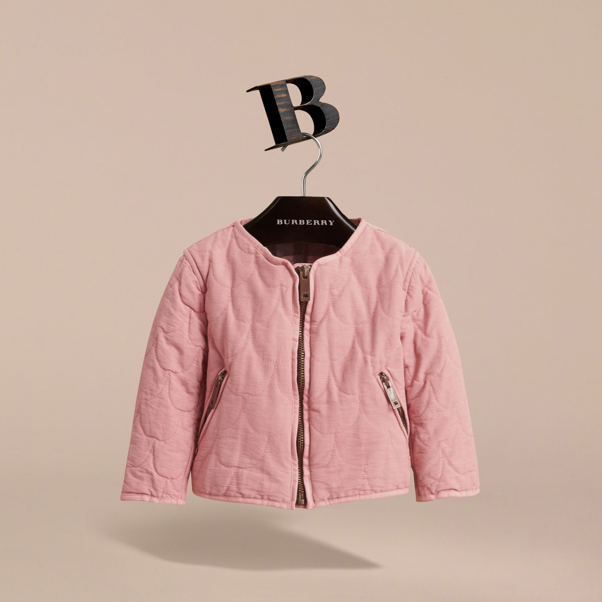 Quilted Collarless Cotton Blend Jacket - gallery image 3