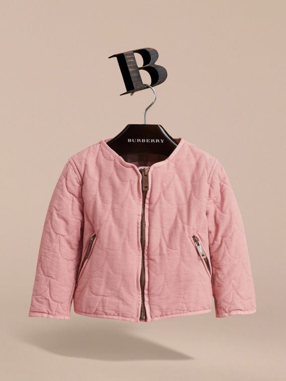 Quilted Collarless Cotton Blend Jacket - cell image 2