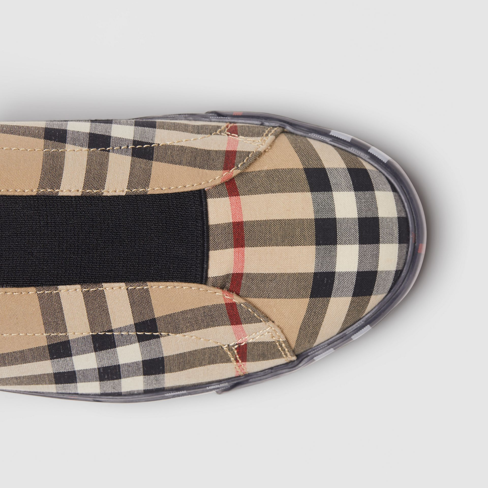 Contrast Check and Leather Slip-on Sneakers in Archive Beige - Women | Burberry Hong Kong S.A.R - gallery image 1