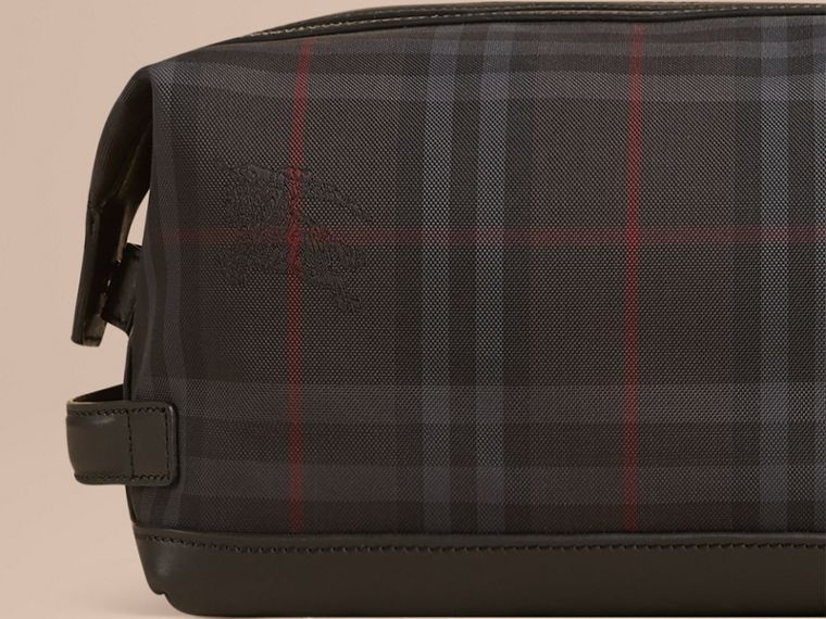 Charcoal/black Horseferry Check and Leather Washbag - cell image 4