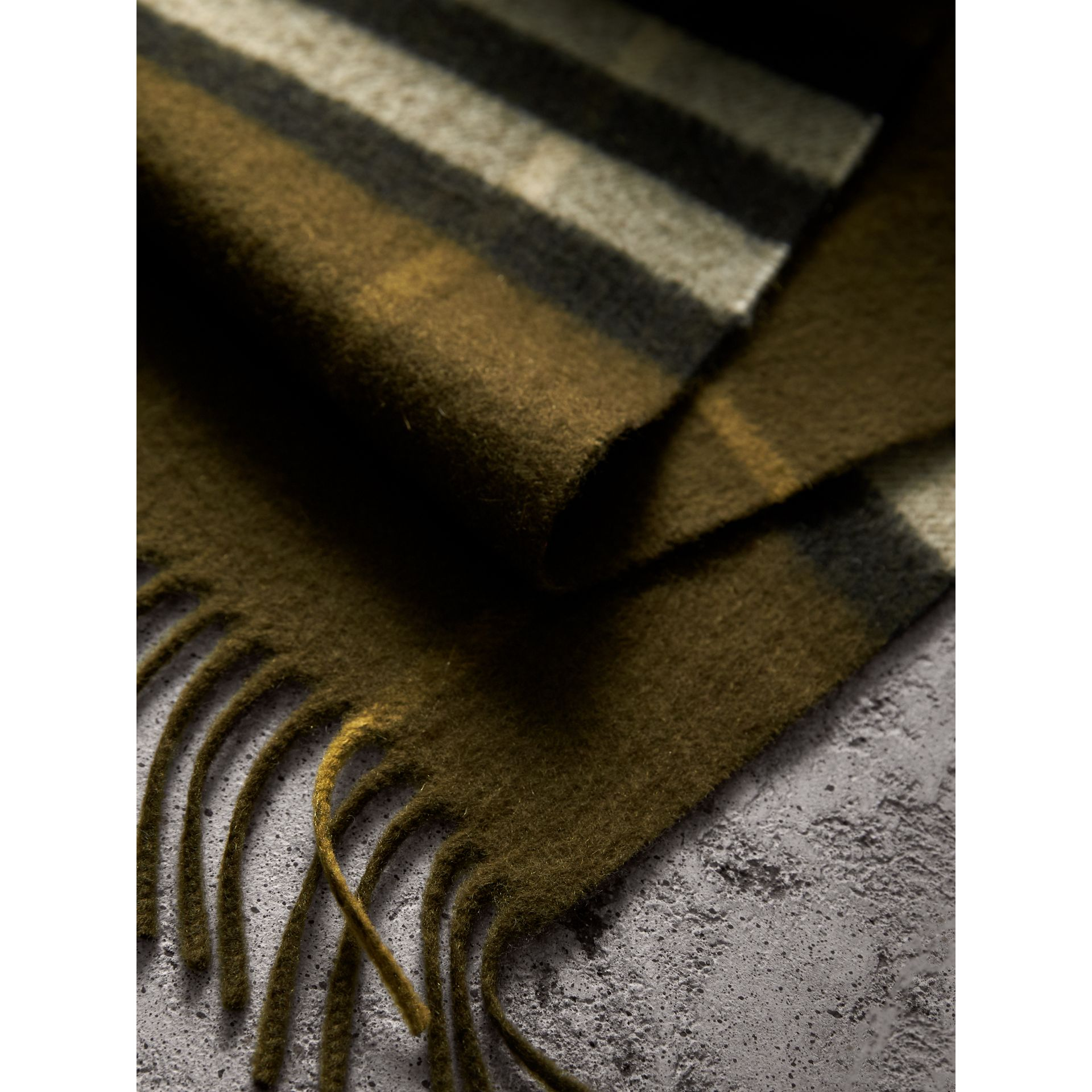 The Classic Check Cashmere Scarf in Olive Green | Burberry Australia - gallery image 4
