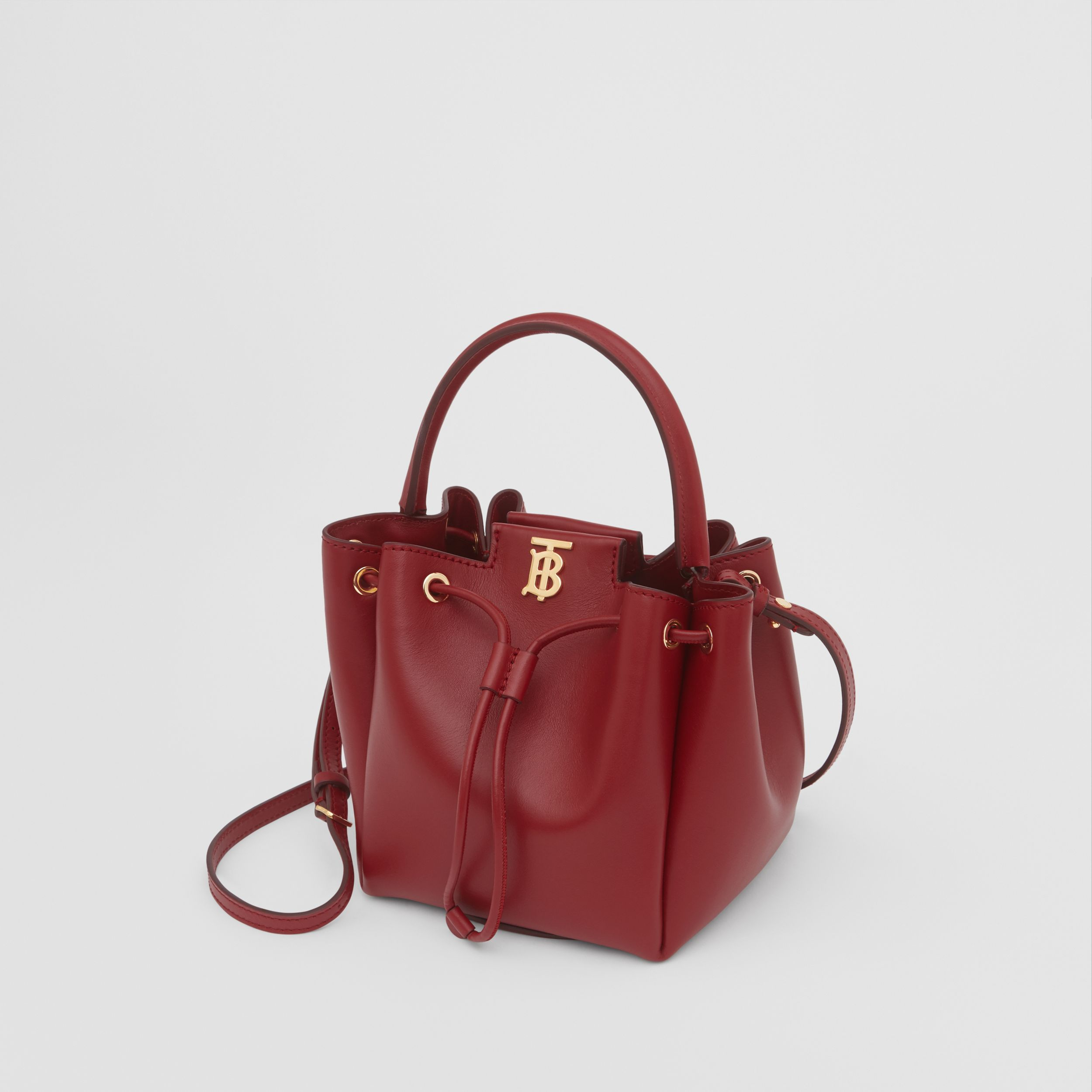 Monogram Motif Leather Bucket Bag in Dark Carmine - Women | Burberry - 3