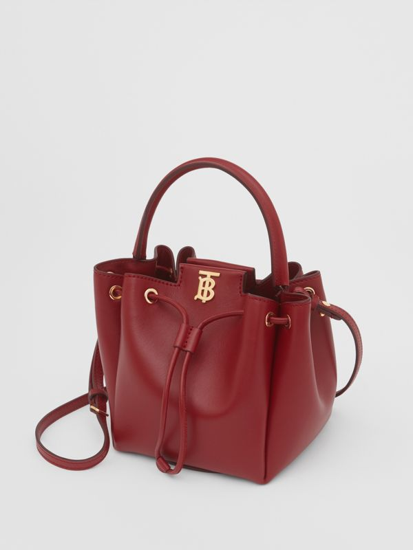 Monogram Motif Leather Bucket Bag in Dark Carmine - Women | Burberry United Kingdom - cell image 2
