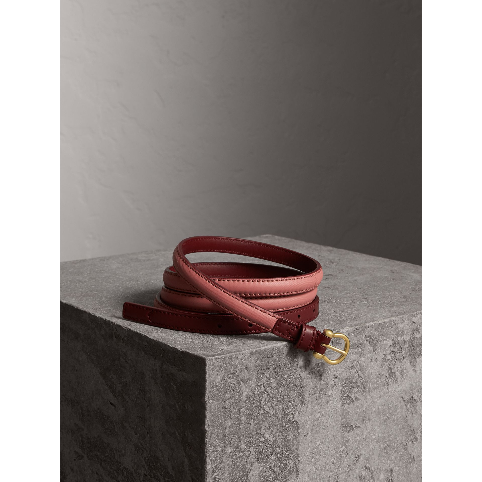 Two-tone Trench Leather Belt in Blossom Pink/ Antique Red - Women | Burberry Australia - gallery image 1
