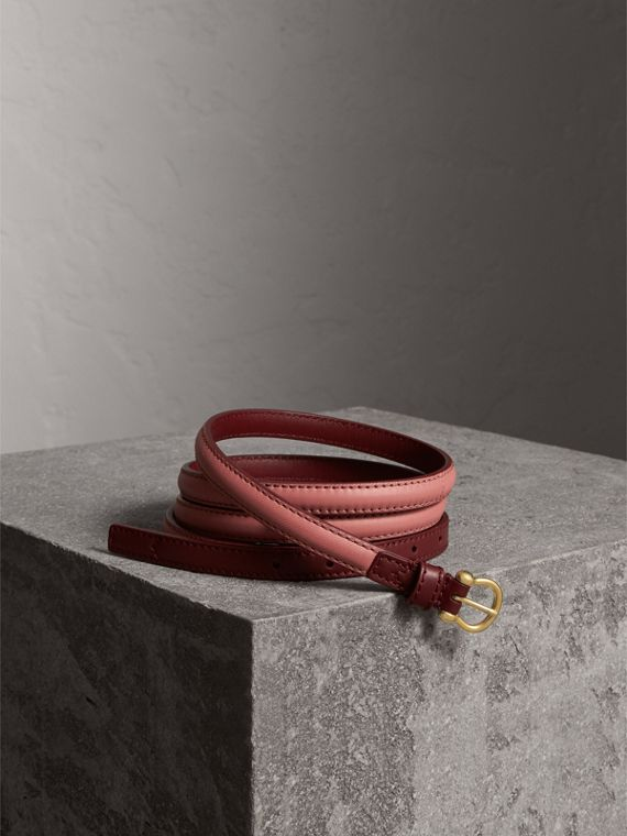 Two-tone Trench Leather Belt in Blossom Pink/ Antique Red