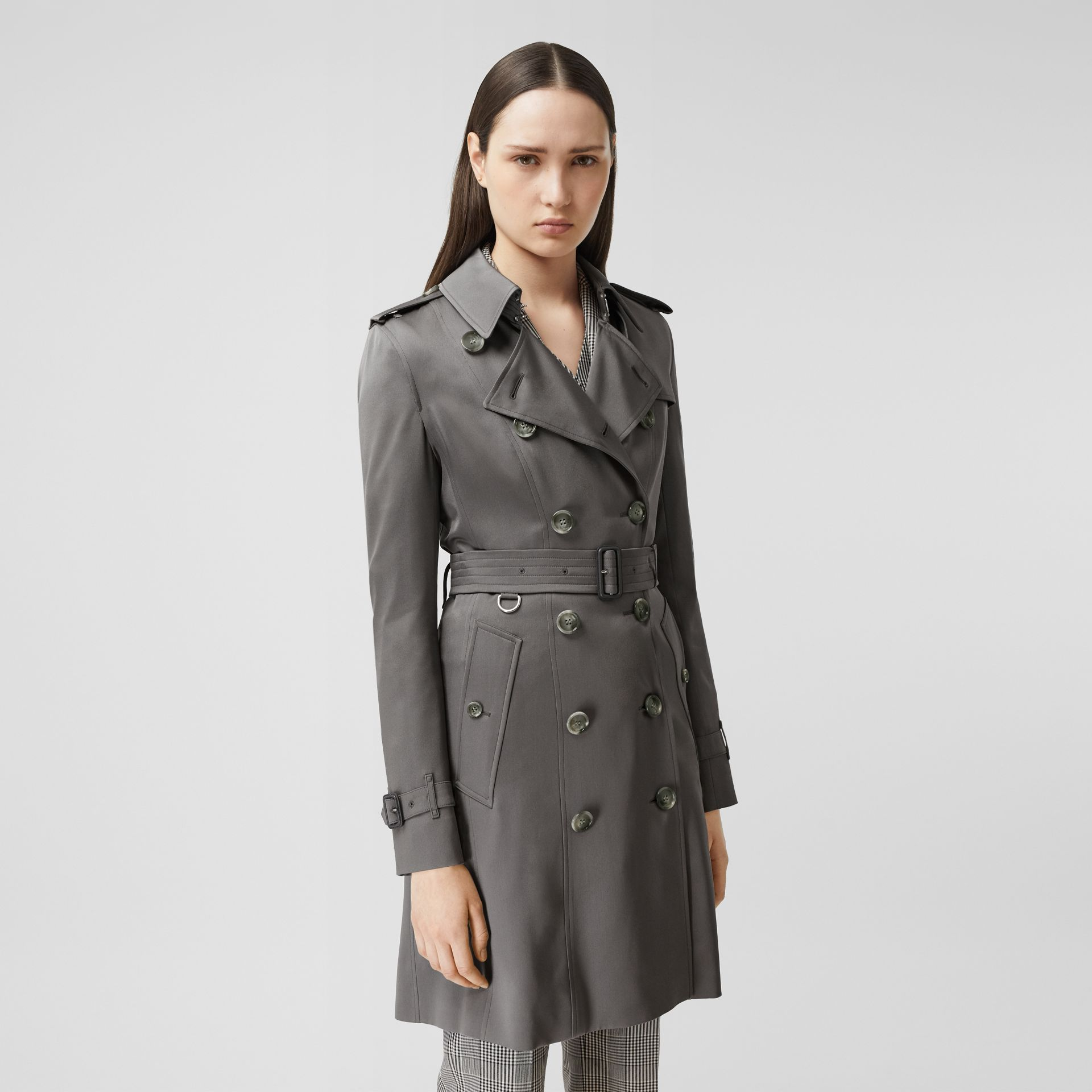 Silk Trench Coat in English Grey - Women | Burberry Singapore - gallery image 5