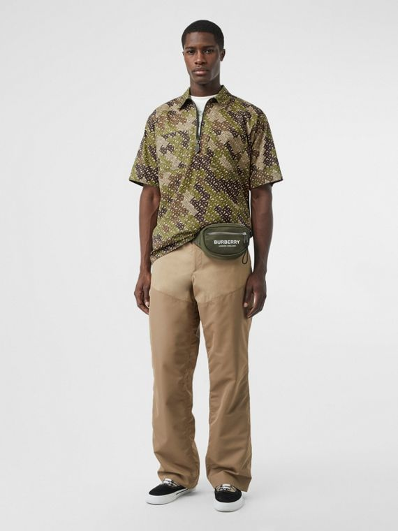 Short-sleeve Monogram Print Cotton Shirt in Khaki Green