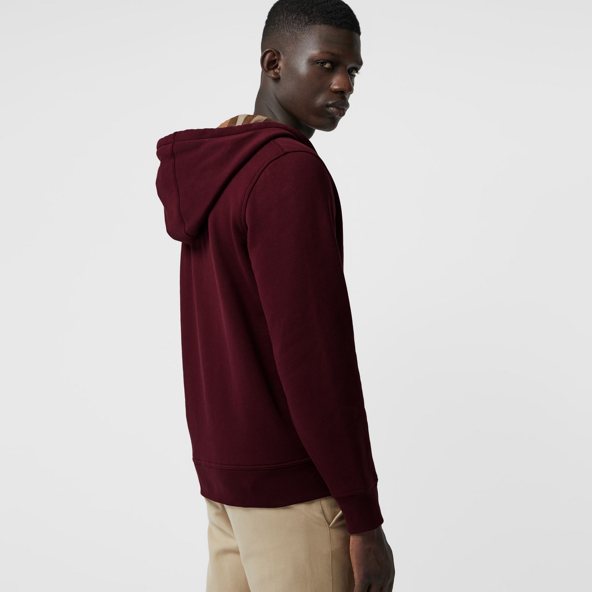 Check Detail Jersey Hooded Top in Dark Crimson - Men | Burberry - gallery image 2