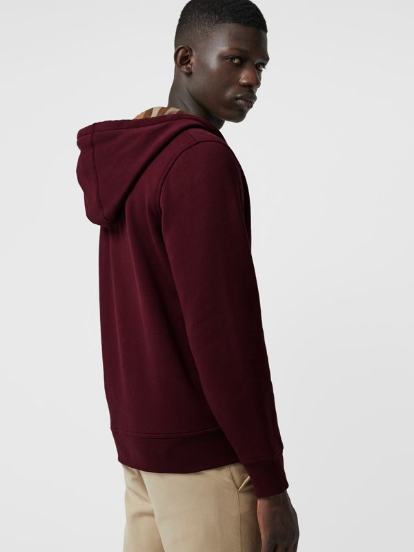 Check Detail Jersey Hooded Top in Dark Crimson - Men | Burberry - cell image 2
