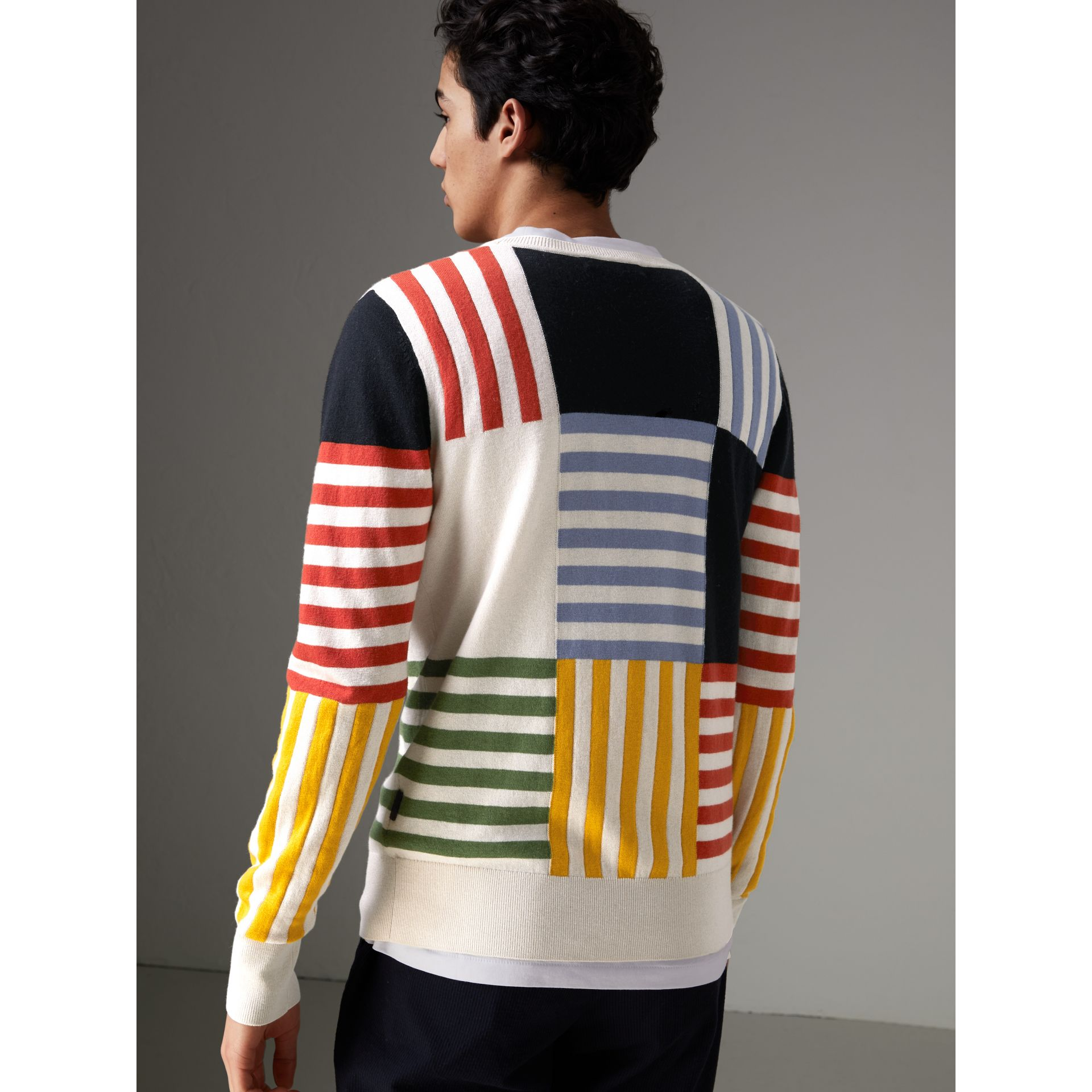 Striped Intarsia Cashmere Cotton Sweater in Natural White - Men | Burberry - gallery image 2