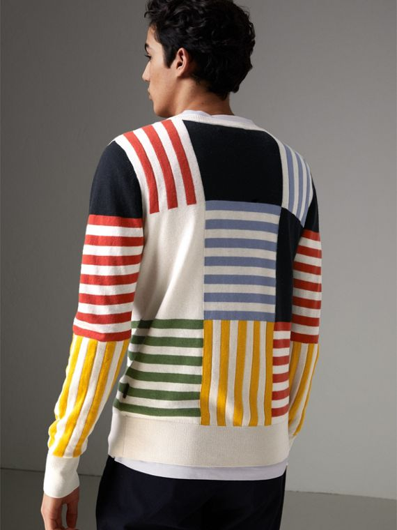Striped Intarsia Cashmere Cotton Sweater in Natural White - Men | Burberry United Kingdom - cell image 2