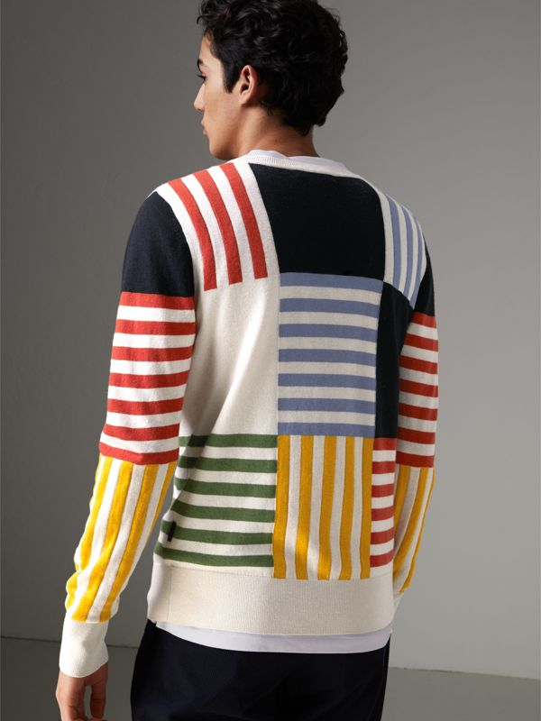 Striped Intarsia Cashmere Cotton Sweater in Natural White - Men | Burberry - cell image 2