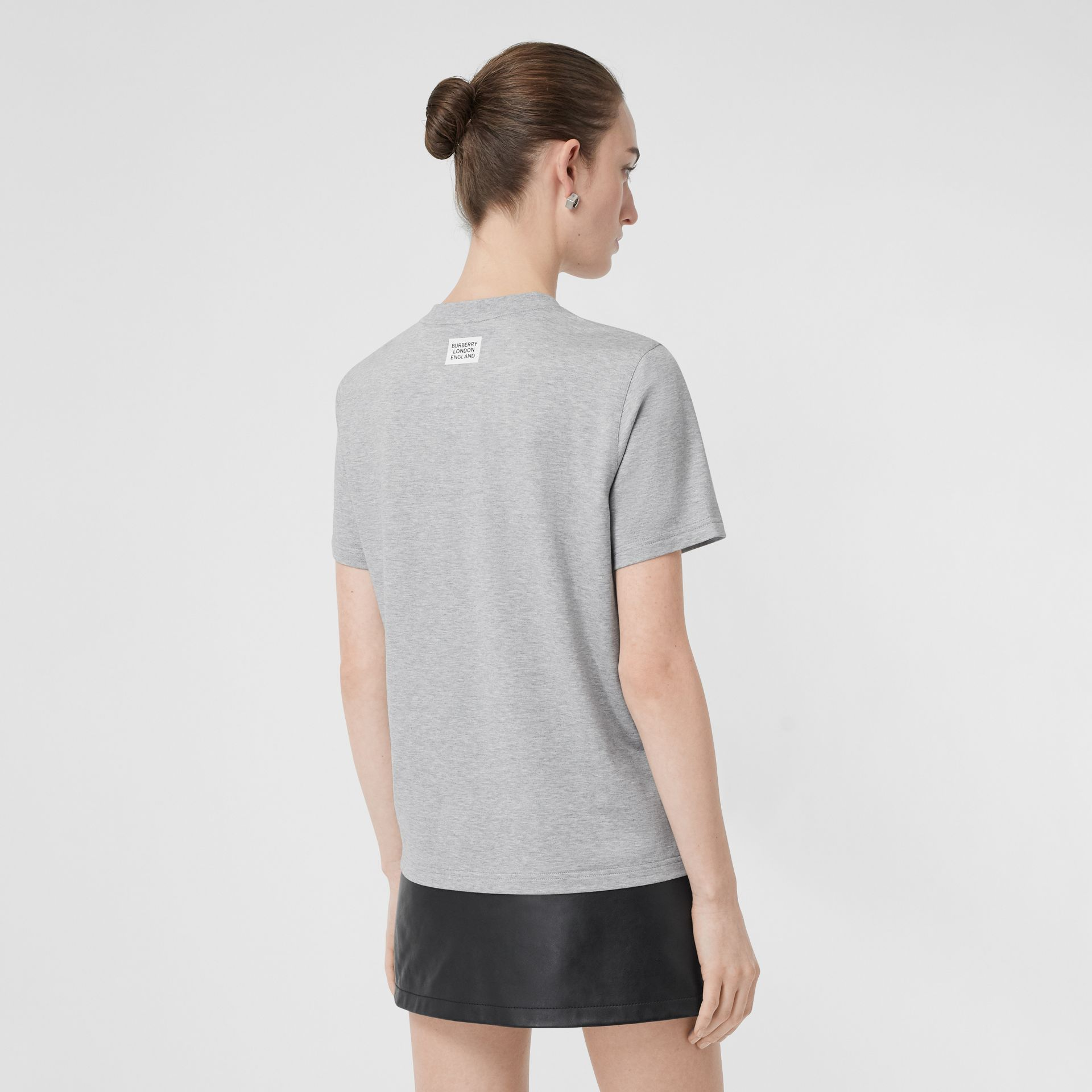 Montage Print Cotton T-shirt in Pale Grey Melange - Women | Burberry - gallery image 2