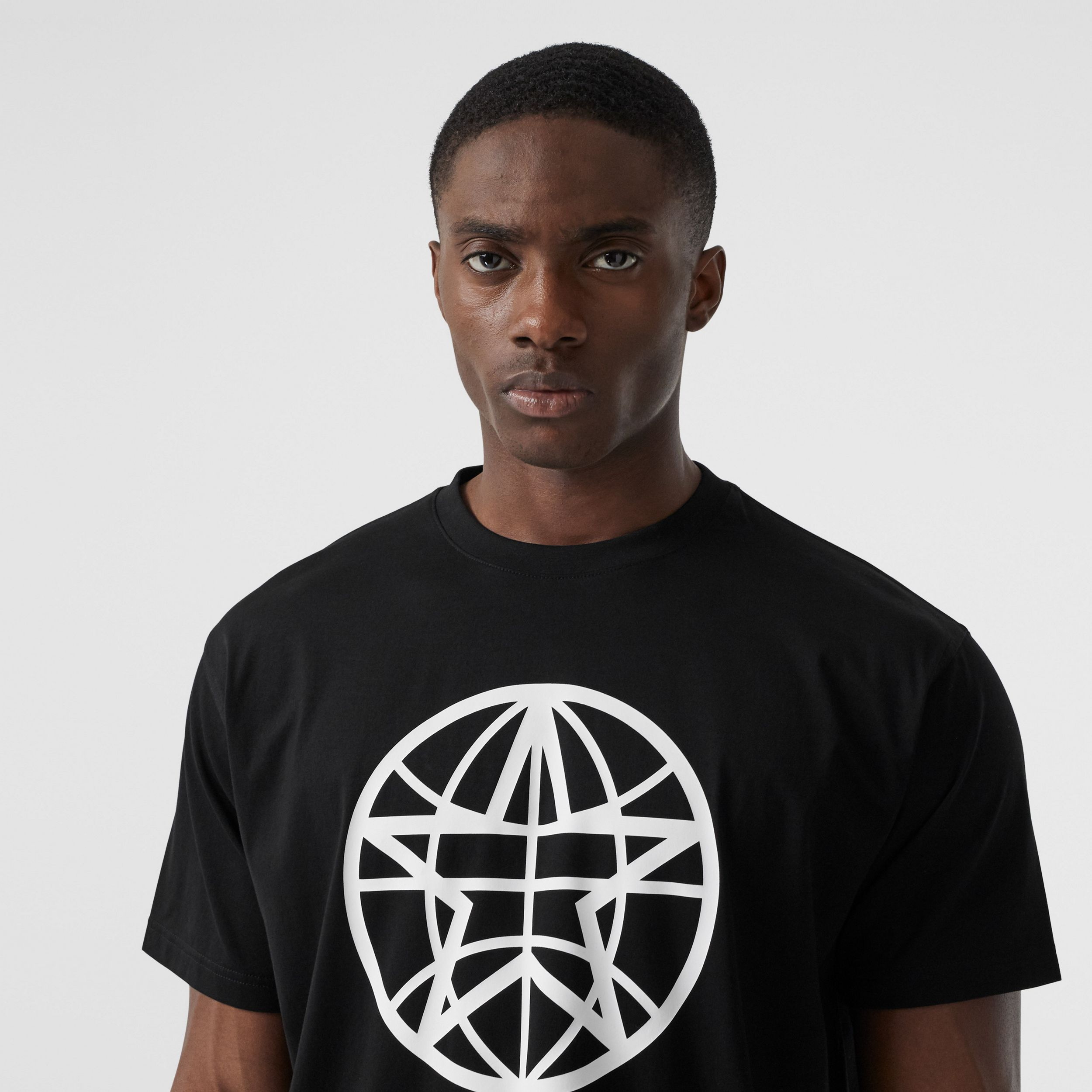 Globe Graphic Cotton Oversized T-shirt in Black | Burberry United States - 2