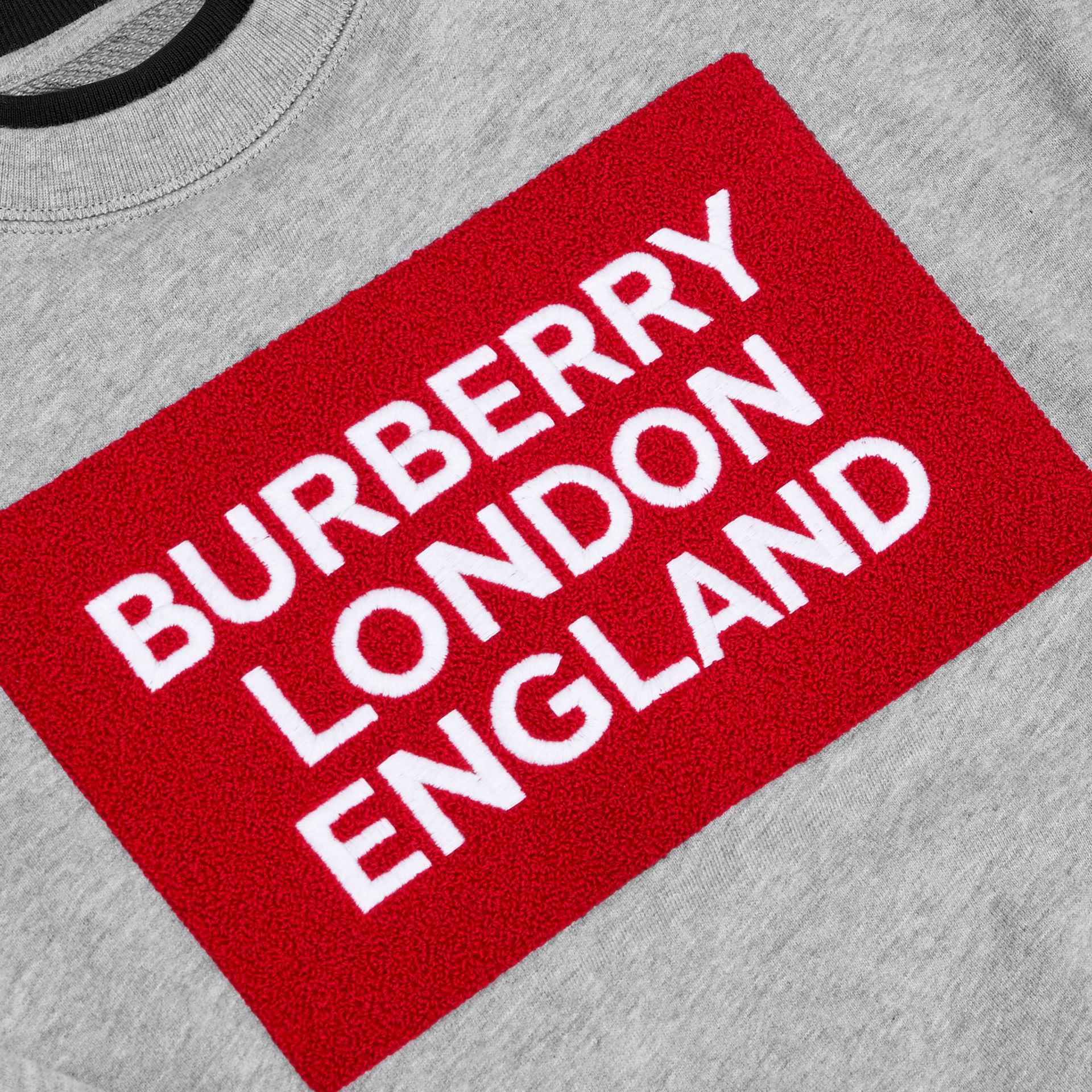 Logo Detail Cotton Sweatshirt in Grey Melange | Burberry - gallery image 6