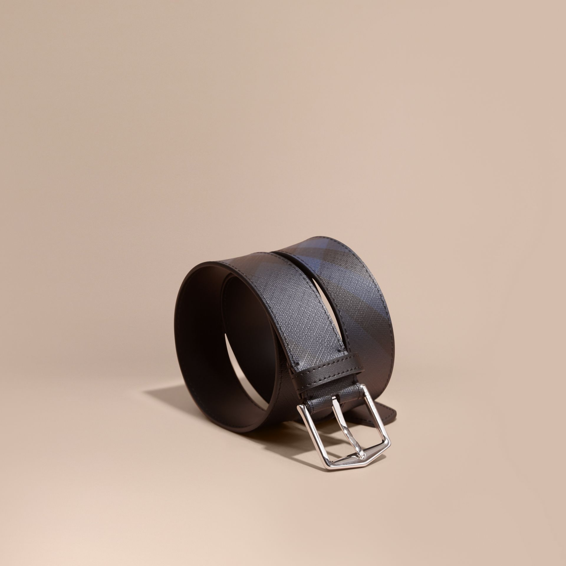 Leather Trim London Check Belt in Navy/black - gallery image 1