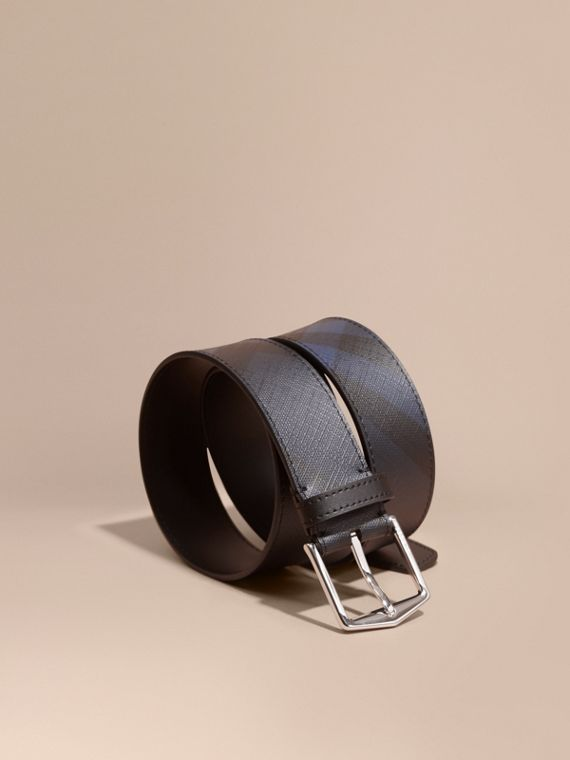 Leather Trim London Check Belt Navy/black