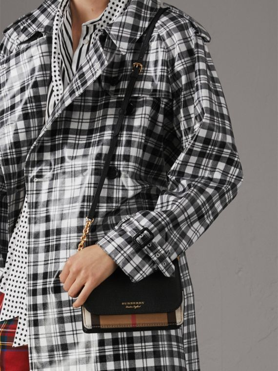 Leather and House Check Wallet with Detachable Strap in Black - Women | Burberry Singapore - cell image 2