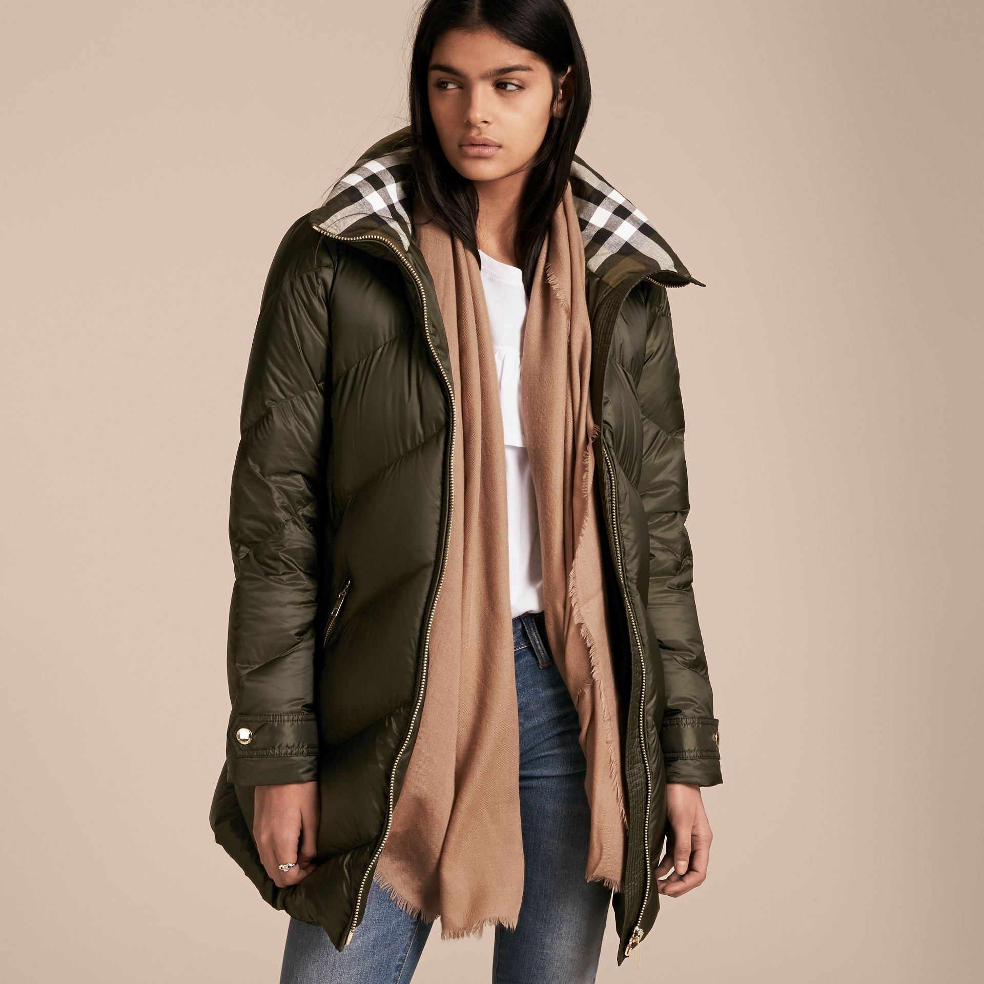 Chevron-quilted Down-filled Coat in Olive - Women | Burberry - gallery image 7