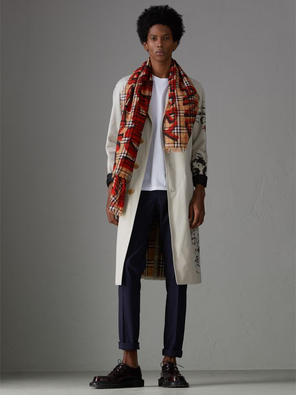Graffiti Print Check Wool Silk Large Square Scarf in Bright Red | Burberry - cell image 3