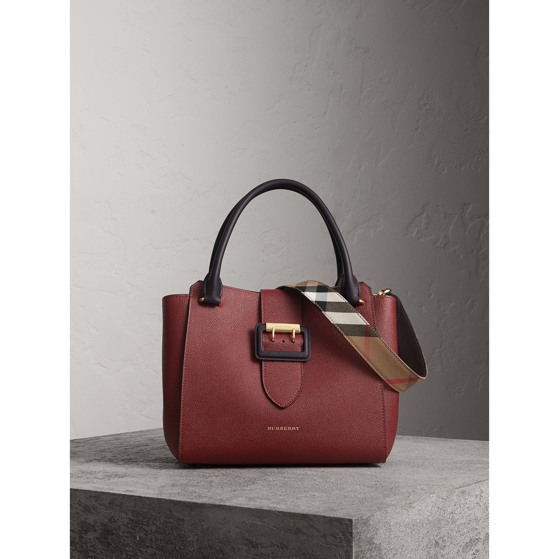 The Medium Buckle Tote in Two-tone Grainy Leather in Burgundy - Women | Burberry United States - gallery image 1