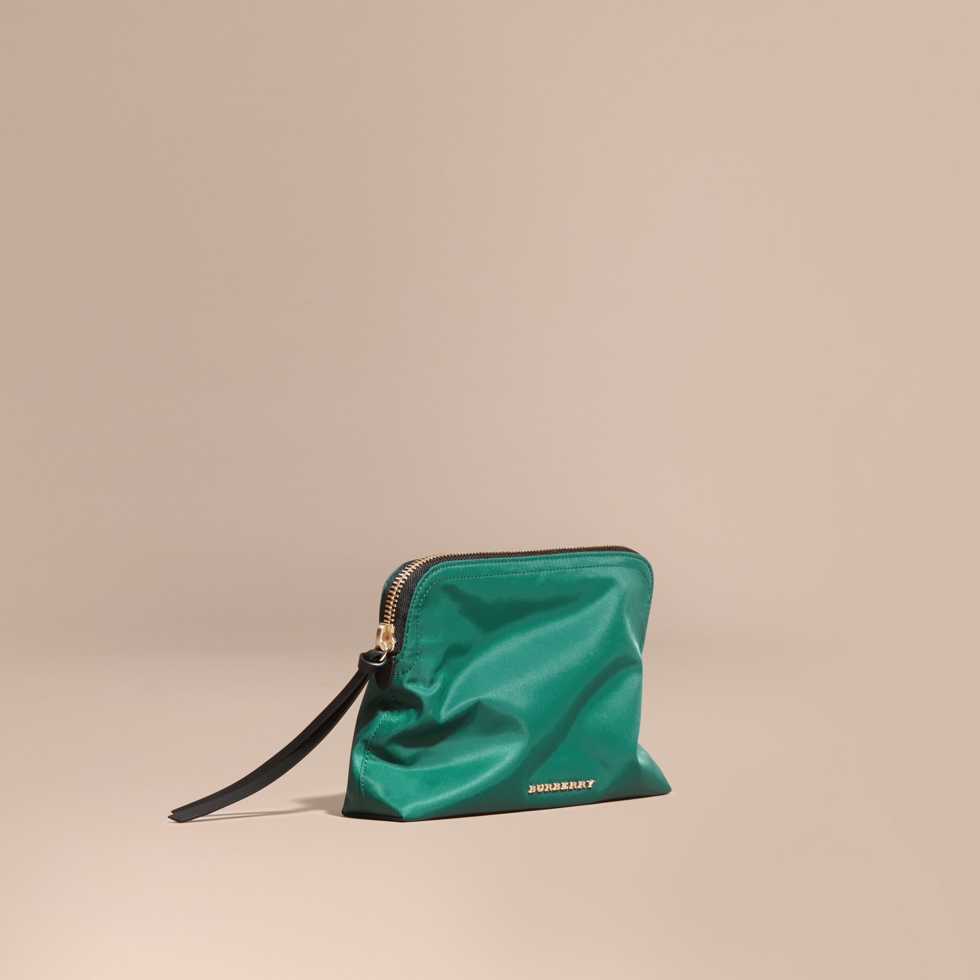Pine green Zip-top Technical Nylon Pouch - gallery image 1