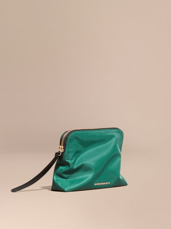 Zip-top Technical Nylon Pouch Pine Green