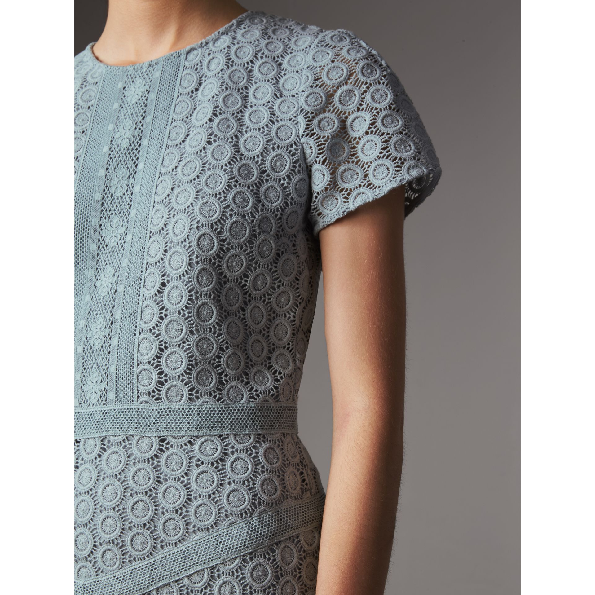 Geometric Lace Cotton Sheath Dress in Pale Slate Blue - Women | Burberry - gallery image 2