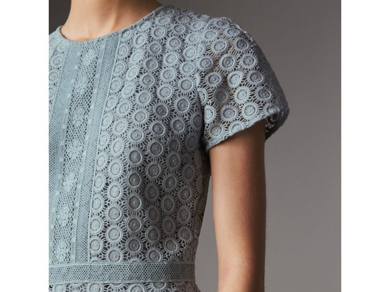 Geometric Lace Cotton Sheath Dress in Pale Slate Blue - Women | Burberry - cell image 1