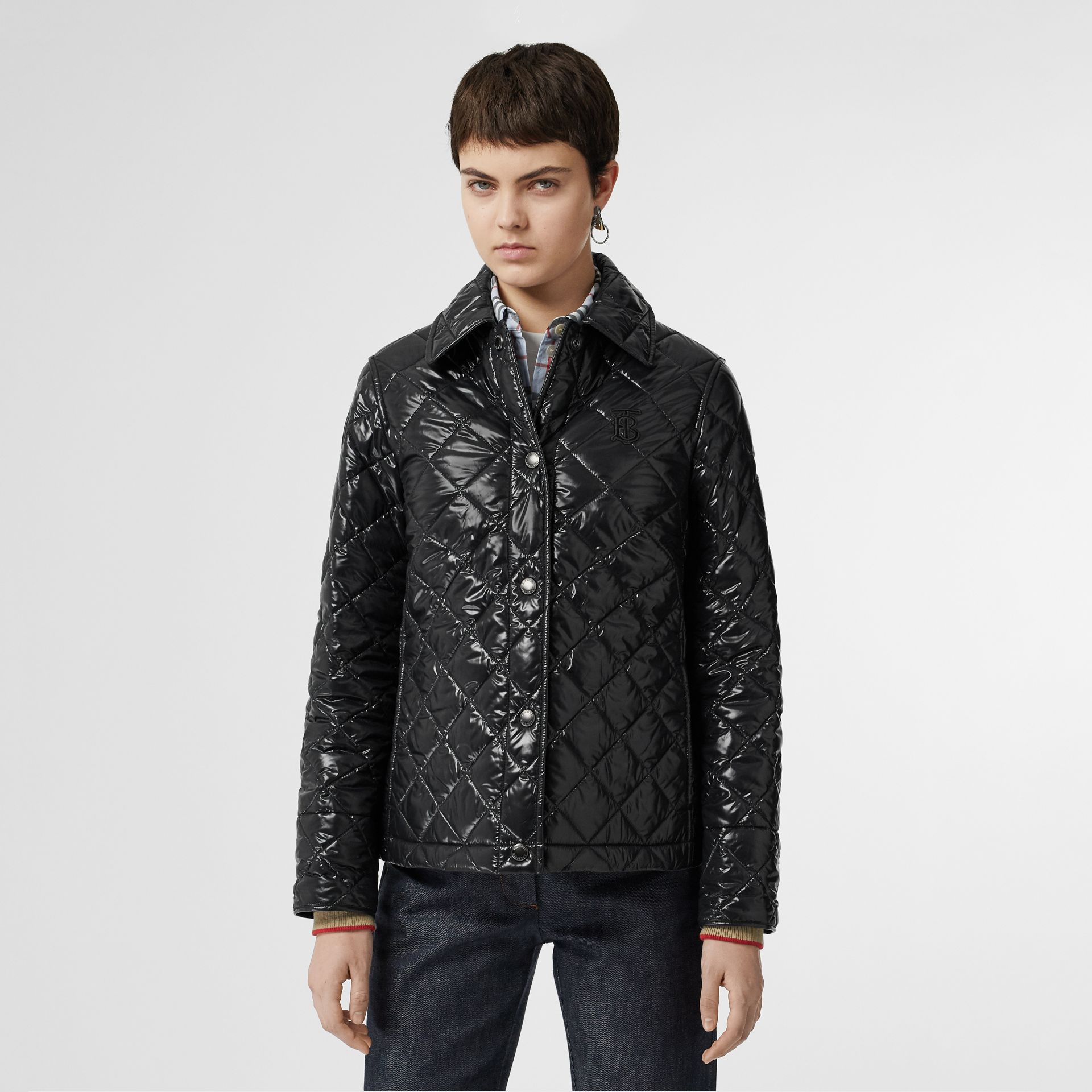 Monogram Motif Diamond Quilted Jacket in Black - Women | Burberry - gallery image 5