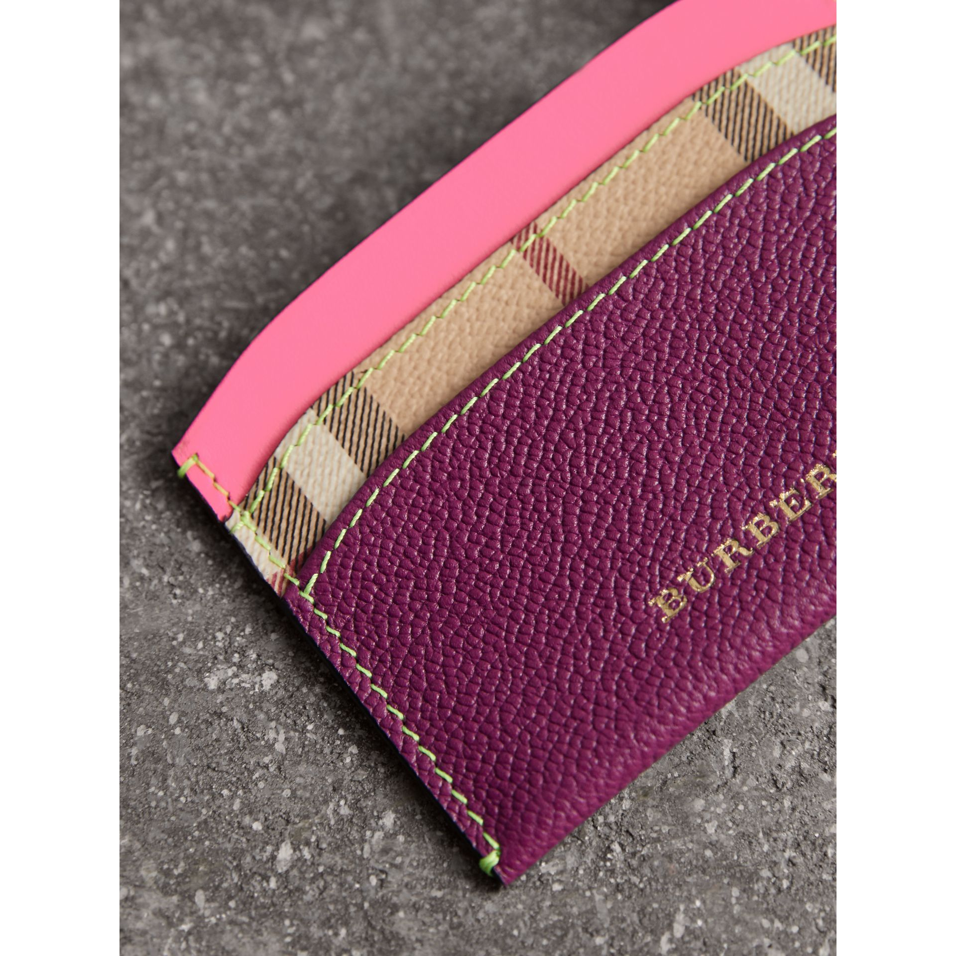 Leather Coin Case with Removable Card Compartment in Parade Red/multicolour - Women | Burberry United Kingdom - gallery image 1