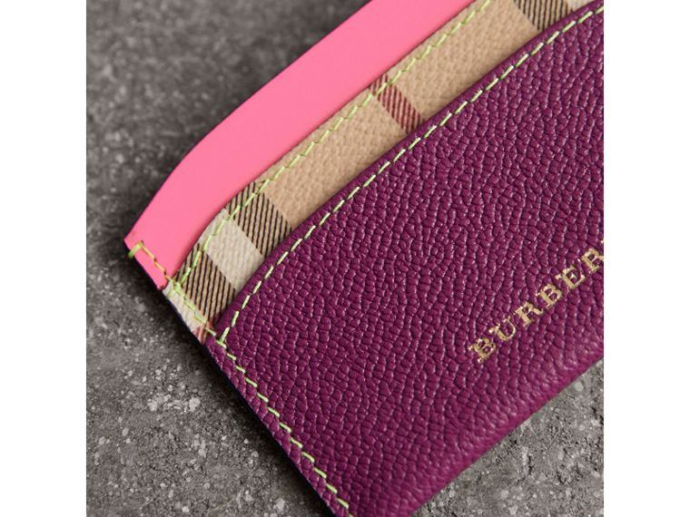 Leather Coin Case with Removable Card Compartment in Parade Red/multicolour - Women | Burberry - cell image 1