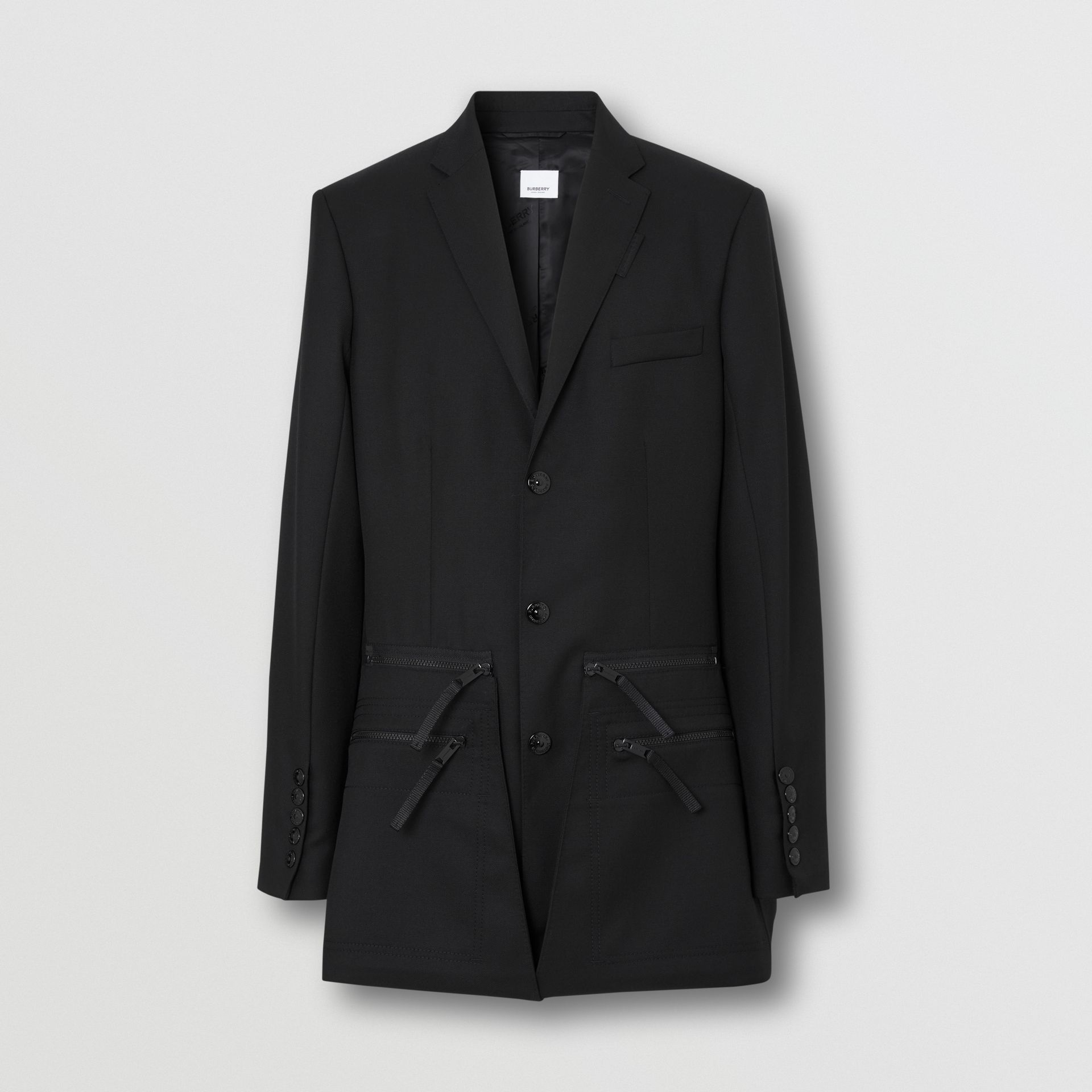Slim Fit Zip Panel Wool Twill Blazer in Black | Burberry - gallery image 3