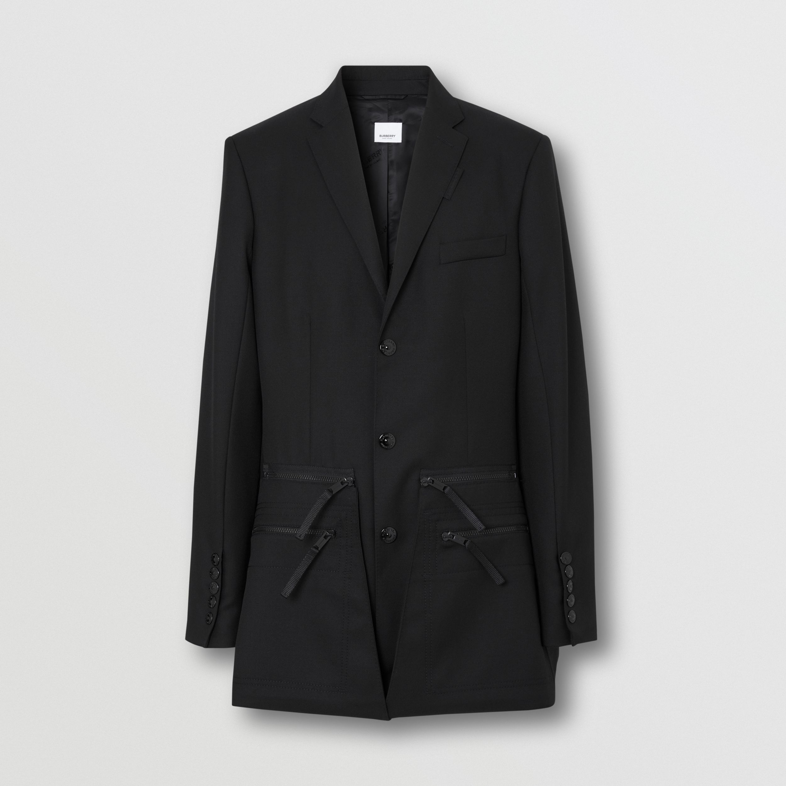 Slim Fit Zip Panel Wool Twill Blazer in Black | Burberry - 4