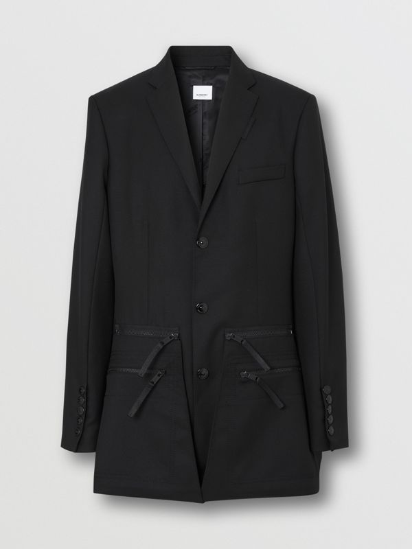 Slim Fit Zip Panel Wool Twill Blazer in Black | Burberry - cell image 3