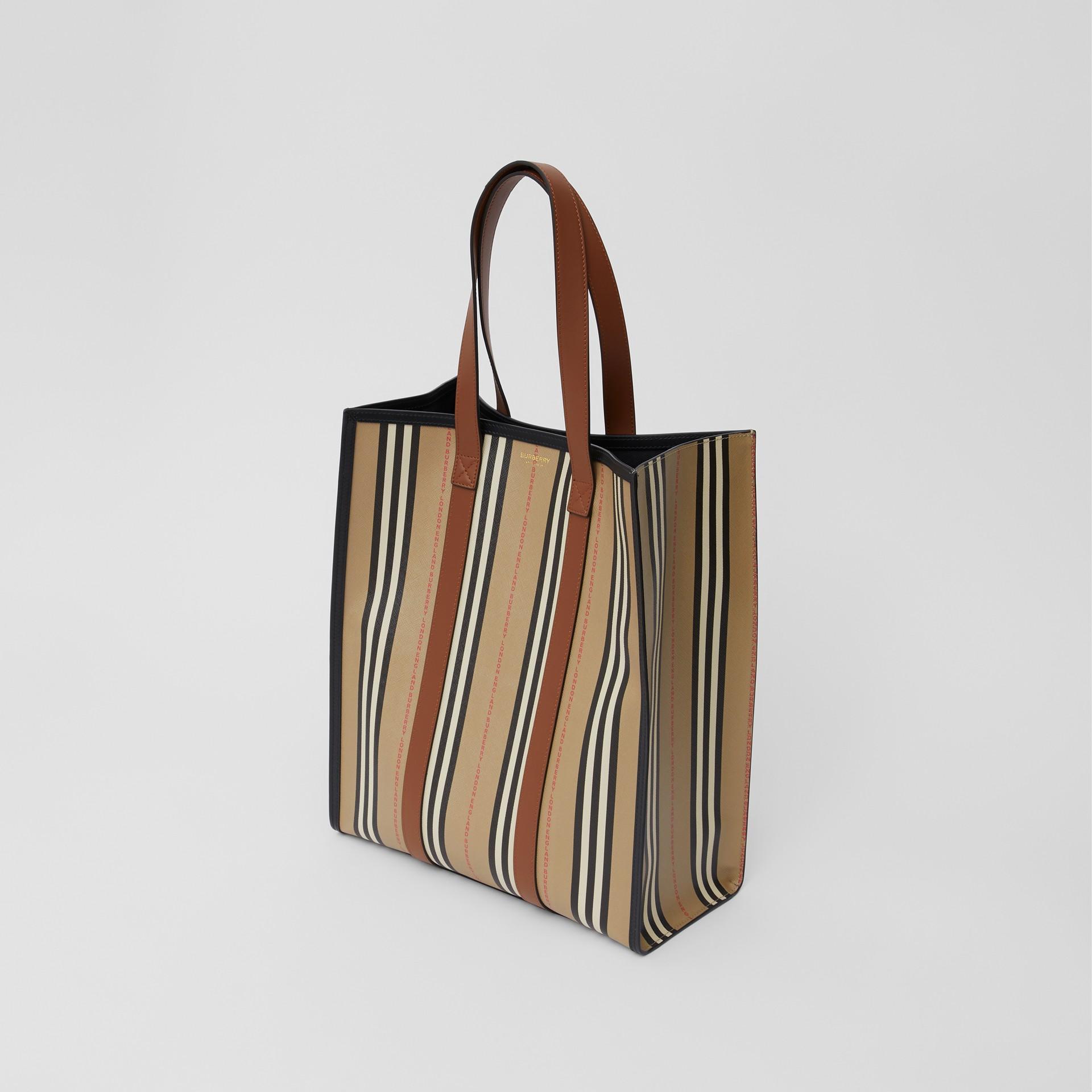 Logo and Stripe E-canvas Portrait Tote Bag in Tan/archive Beige - Women | Burberry - gallery image 3